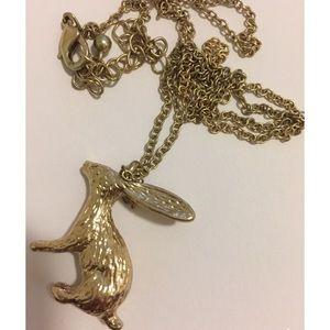 H&M gold rabbit pendant necklace